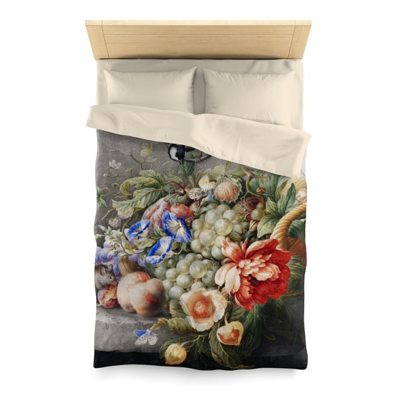 Flowers and Fruits Twin Duvet Cover, 18th Century Still Life