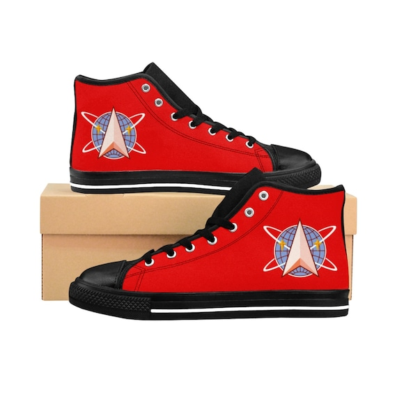Space Command, Red Men's High-top Sneakers, Inspired By Star Trek, The Original Series