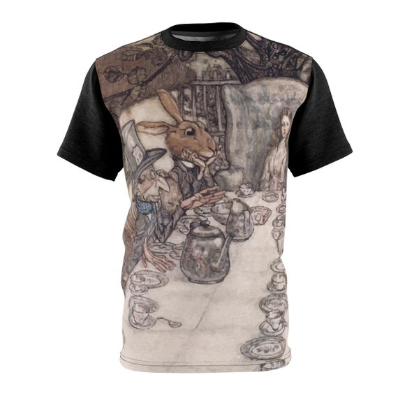 Alice At The Tea Party, Unisex T-shirt, Vintage Illustrations, Arthur Rackham, 1907, AOP