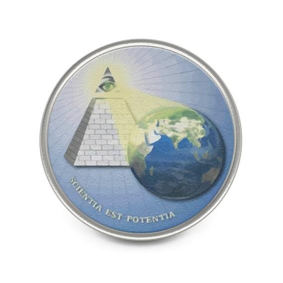 Knowledge Is Power, Pewter Pin, Eye Of Providence, Illuminati, DARPA