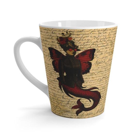 Red Victorian Butterfly Mermaid v2 White Ceramic Latte Mug, Monty Python Animation Style