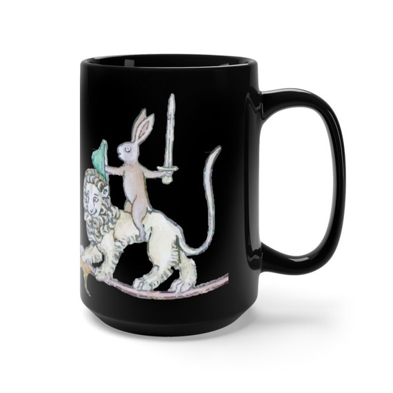 Medieval Rabbit Vs Snail Man Black 15oz Ceramic Mug, From Medieval Manuscript, Marginalia, Coffee, Tea