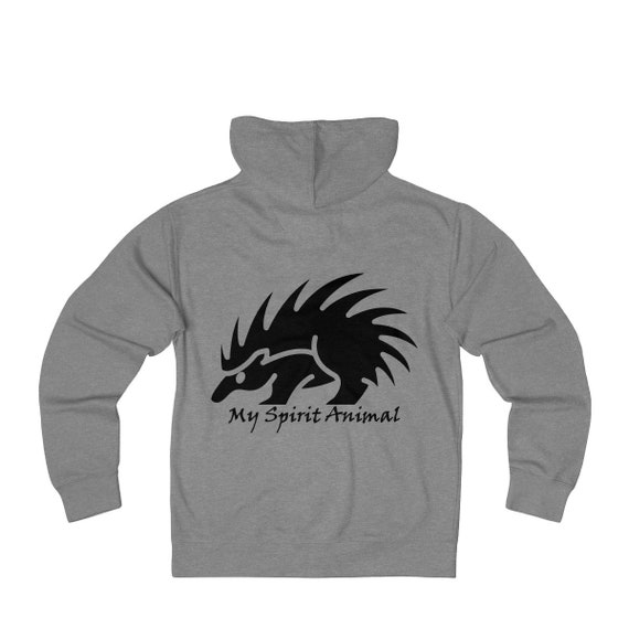 My Spirit Animal Is A Porcupine, Unisex French Terry Zip Hoodie, FREE SHIPPING WORLDWIDE