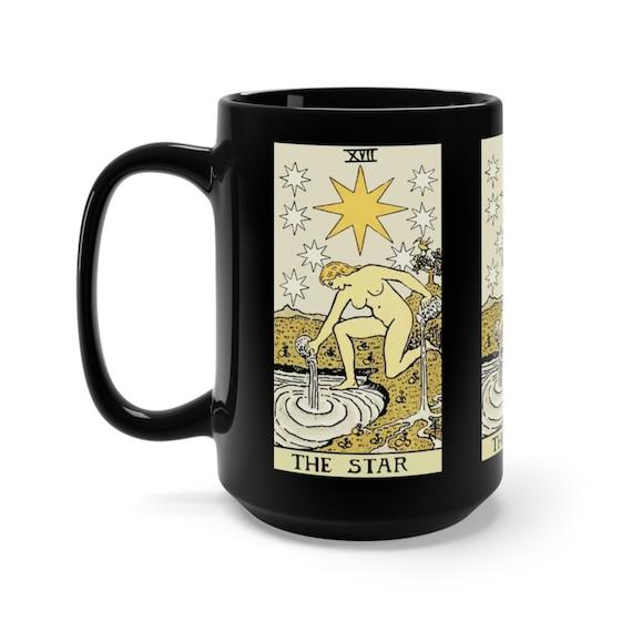 The Star, Black 15oz Ceramic Mug, Tarot Card, Major Arcana, From Vintage Rider-Waite Deck, Coffee, Tea