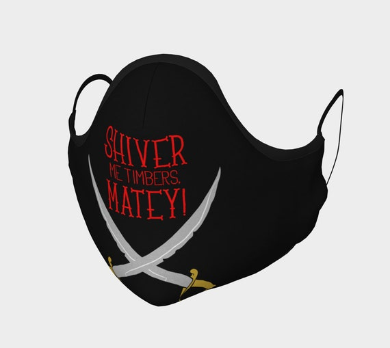 Shiver Me Timbers, Face Mask With Filter Pocket, Filters Included, 7 Sizes, 100% Cotton, Pirate, Crossed Cutlasses