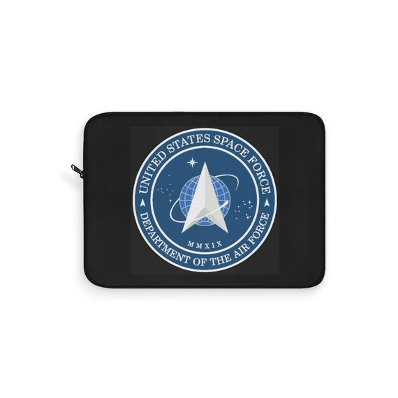 Space Force Insignia Logo, Black Laptop Sleeve, From Official USSF Seal, Military