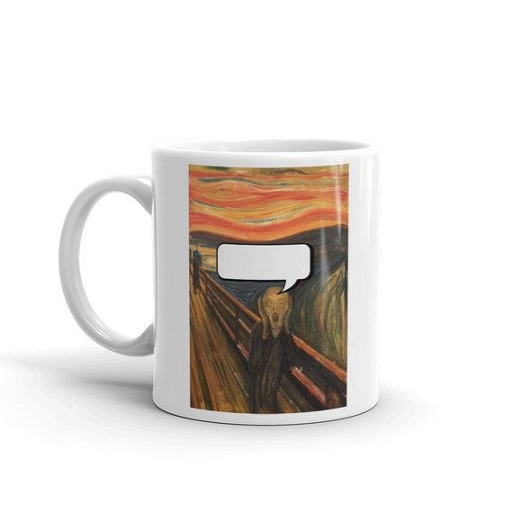 You Scream, Coffee Mug, Vintage, Antique Painting,  Edvard Munch  1893