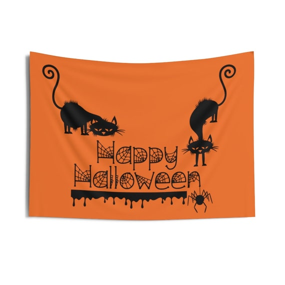"""Happy Halloween Sign Indoor Wall Tapestry, 36""""x26"""", Black Cat, Spider, Spider Web, Dripping Blood, Wall Decor, Room Decor"""