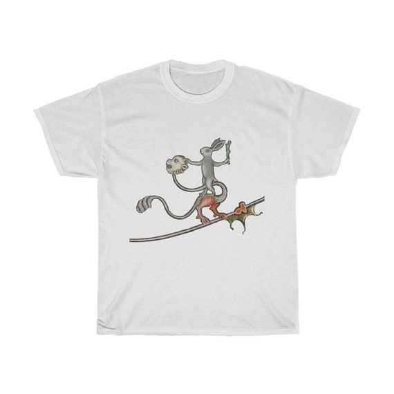 Medieval Rabbit Rides Monkey Dragon T-shirt, Light Colors, From A Medieval Manuscript, Marginalia
