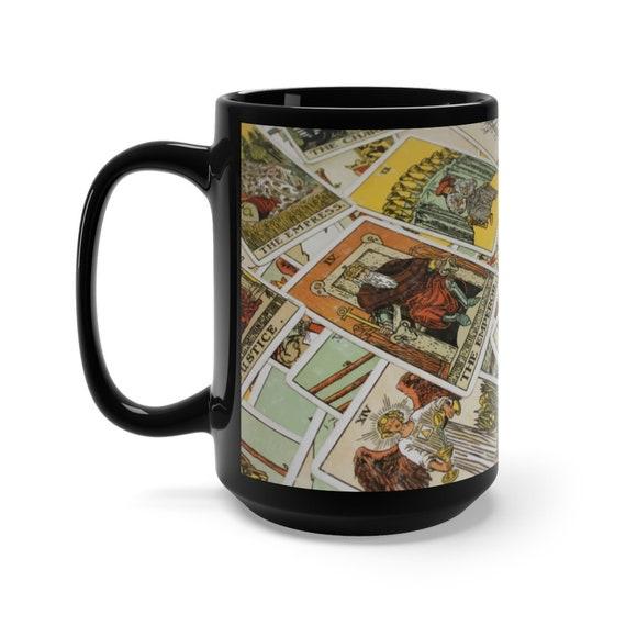 Tarot Card 15oz Black Ceramic Mug Focusing On Wheel Of Fortune, Major & Minor Arcana From A Vintage Rider-Waite Deck, Coffee, Tea