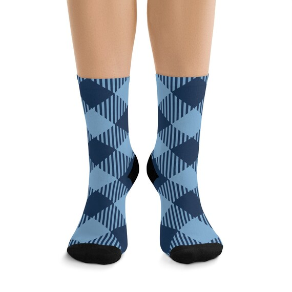 Blue Diagonal Checkered Premium Crew Socks, One Size Fits Most