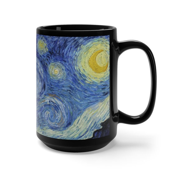 Starry Night, Black Ceramic Mug, 15oz, Vincent Van Gogh, Coffee, Tea
