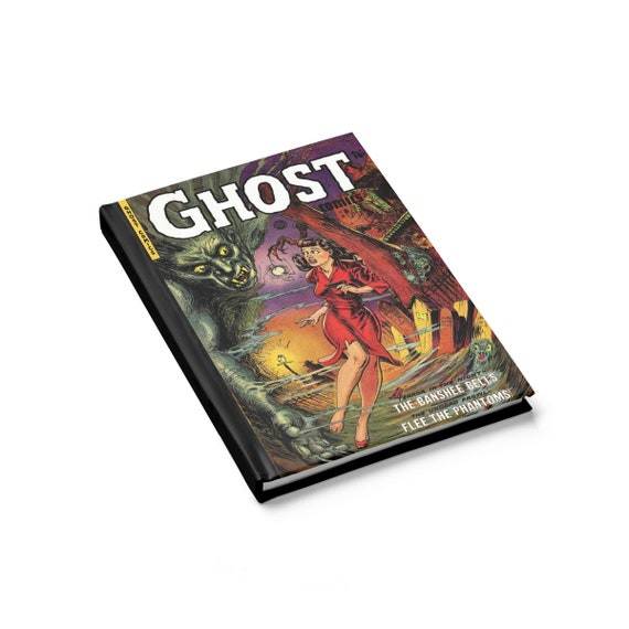 Ghost Comics, Hardcover Journal, Ruled Line, Opens Flat, Vintage Horror Comic Cover