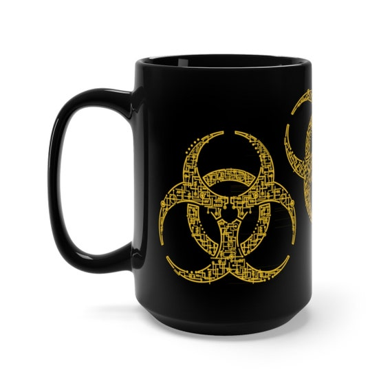 Electronic Bio-hazard, Black 15oz Ceramic Mug, Retro Geeky Image