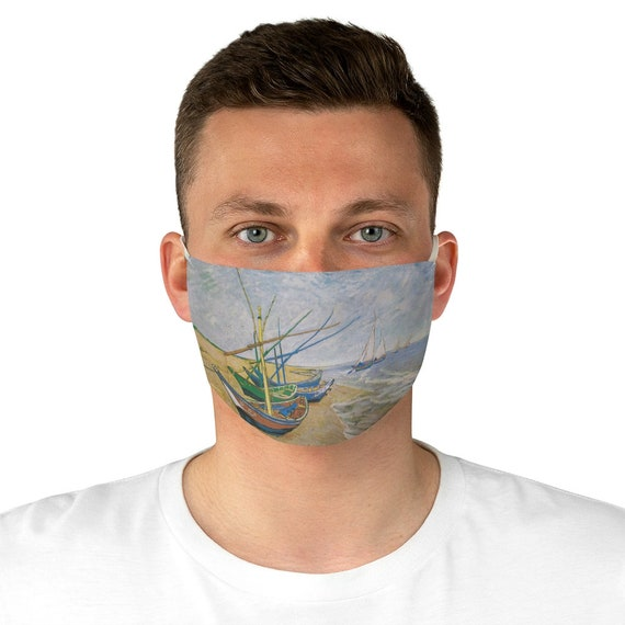 Fishing Boats On The Beach, Cloth Face Mask, Washable, Reusable, Vincent Van Gogh