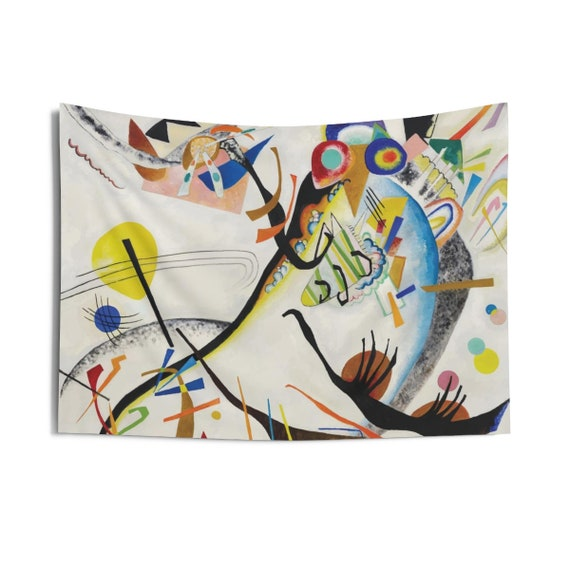 Blue Segment, Indoor Wall Tapestry, Vintage Abstract Painting, Wassily Kandinsky, 1921