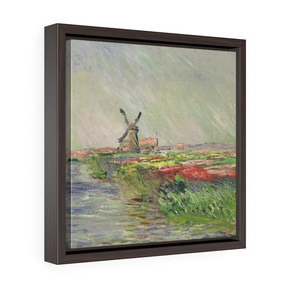 """Tulip Field In Holland, 12""""x12"""" Framed Gallery Wrap Canvas, Claude Monet, Impressionism"""