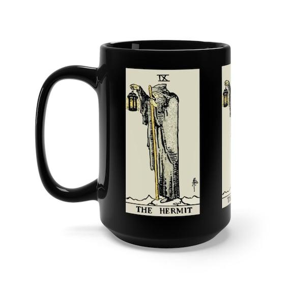 The Hermit, Black 15oz Ceramic Mug, Tarot Card, Major Arcana, From Vintage Rider-Waite Deck, Coffee, Tea
