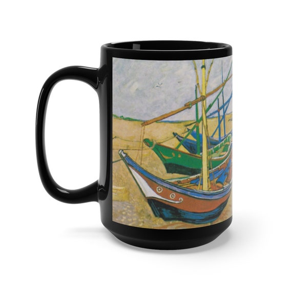 Fishing Boats On The Beach Black 15oz Ceramic Mug, Vincent Van Gogh, Coffee, Tea