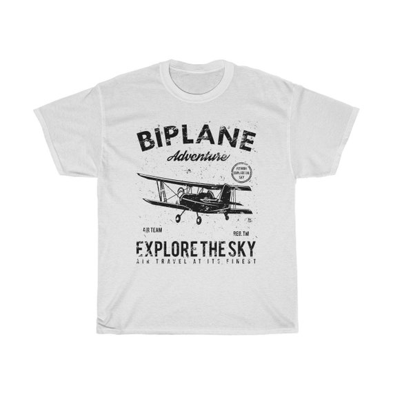 Explore The Sky - Unisex Heavy Cotton Tee With Vintage Inspired Biplane Image.