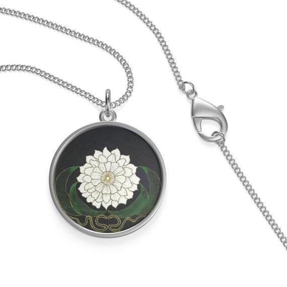 White Flower Mandala, Sterling Silver Necklace, Vintage Image