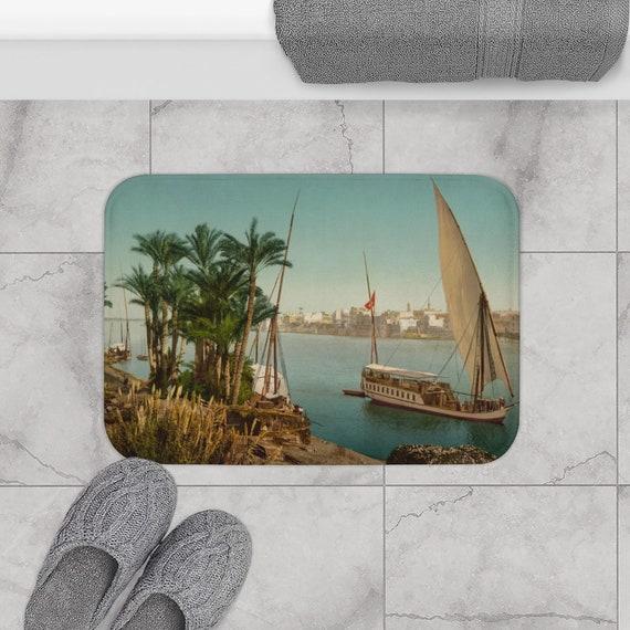 Nile Sailboat Near Cairo Egypt, Bath Mat, From An Antique/Vintage Victorian Postcard