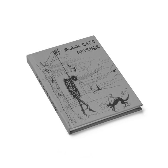 Black Cat's Revenge, Hardcover Journal, Ruled Line, Inspired By Edgar Allan Poe Short Story, Vintage Illustration