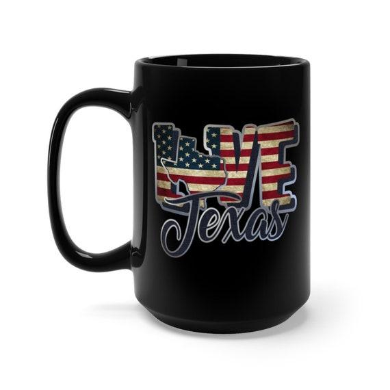 I Love Texas, Large Black Ceramic Mug, Vintage Retro Flag, Patriotic, Patriotism, United States, Coffee, Tea