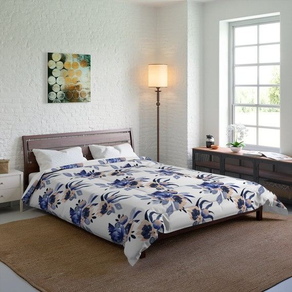Blue And Peach Flowers Queen Comforter