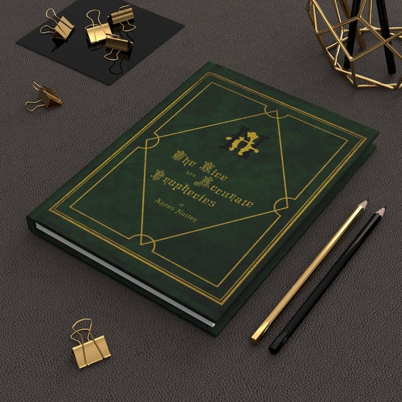 """The Nice and Accurate Prophecies of Agnes Nutter, 5.75""""x8"""" Hardcover Journal, Ruled Line, TV Book, Good Omens"""