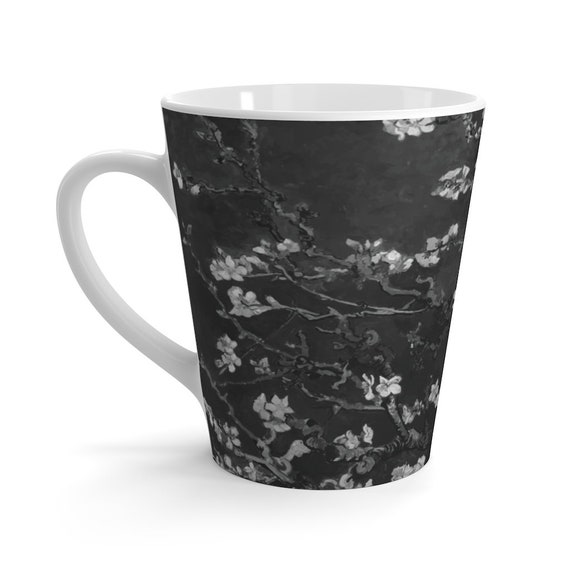 Almond Blossoms On Black 12oz Latte Mug, Vincent Van Gogh, 1890
