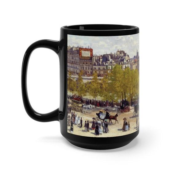 Quai du Louvre Large Black Ceramic Mug, Claude Monet, Victorian Paris, Coffee, Tea