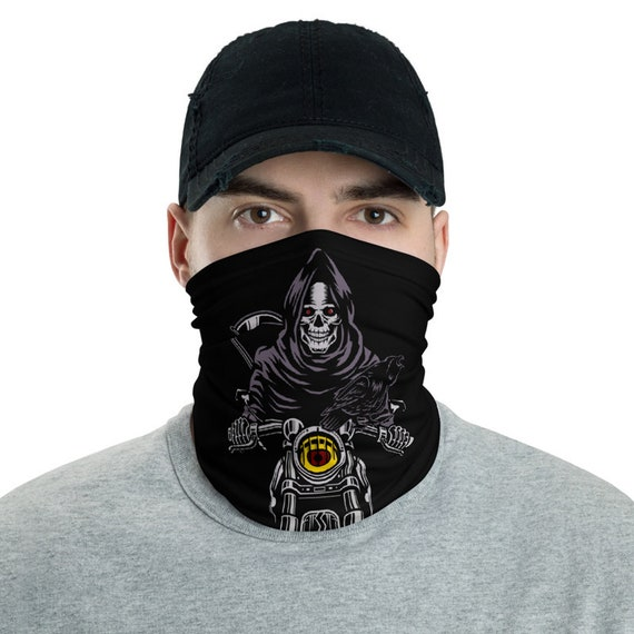 Death Rides A Pale Bike, Neck Gaiter, Death, Grim Reaper, Black Cowl, Motorcycle, Raven, Scythe, Headband, Bandana, Christian Religion