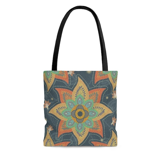 Boho Square Tote Bag, Vintage Inspired Paisley Pattern