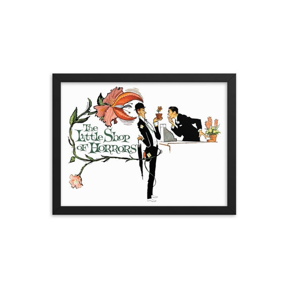 """Little Shop Of Horrors, 16"""" x12"""" Framed Giclée Poster, Black Wood Frame, Acrylic Covering, Vintage 1960 Movie Poster, Wall Decor, Room Decor"""