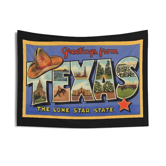 "Greetings From Texas, 36""x26"" Indoor Wall Tapestry, Vintage Postcard From 1938, Wall Decor, Room Decor"