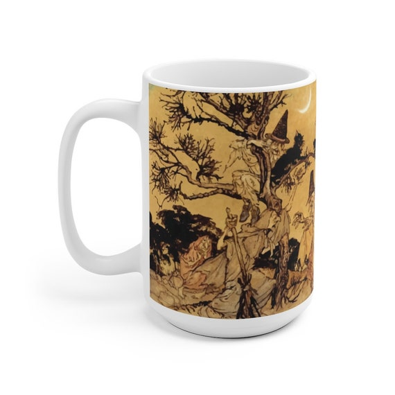Black Cats & Witches, Large White Ceramic Mug, Halloween, Vintage Illustration, Arthur Rackham, 1920, Witchcraft, Coffee, Tea