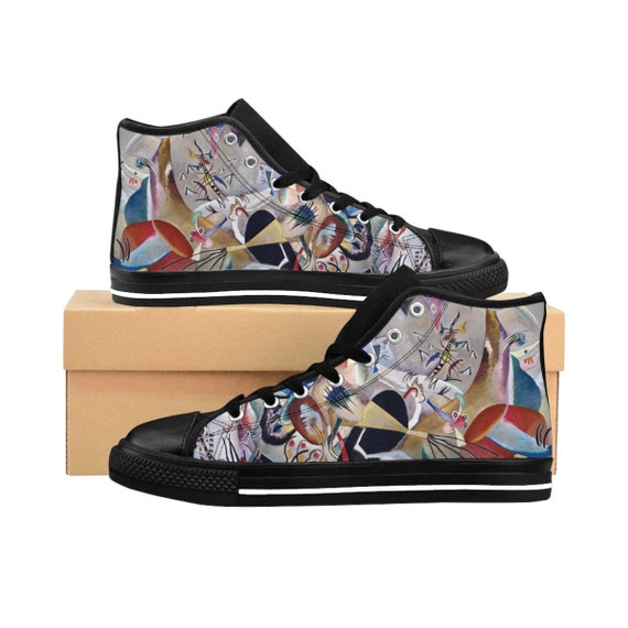 Wassily Kandinsky, In Grey, Women's High-top Sneakers, Abstract
