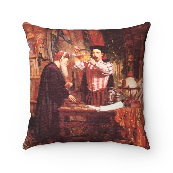 The Alchemist, Square Pillow, Vintage Painting, William Fettes Douglas, 1853