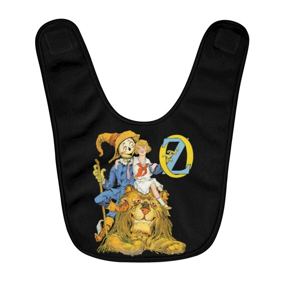 Dorothy, The Scarecrow & The Cowardly Lion, Fleece Baby Bib, Black, Wizard Of Oz