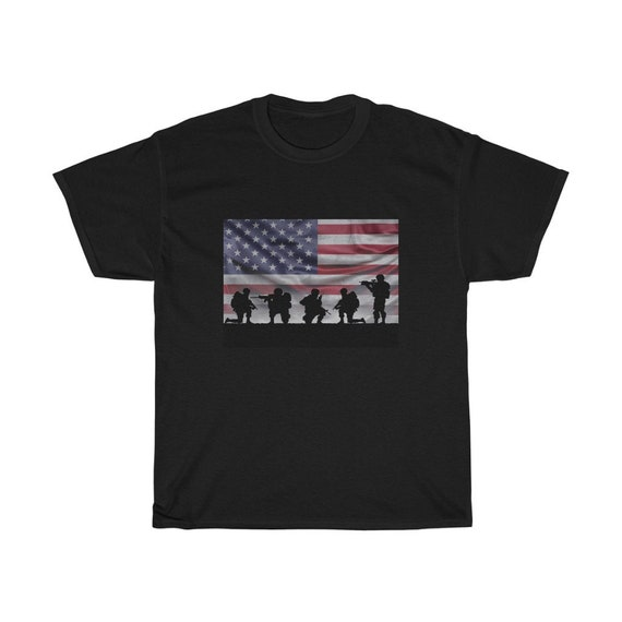 American Soldiers, Black 100% Cotton T-Shirt, Sizes Up To 3XL, Flag, Patriotic, Military