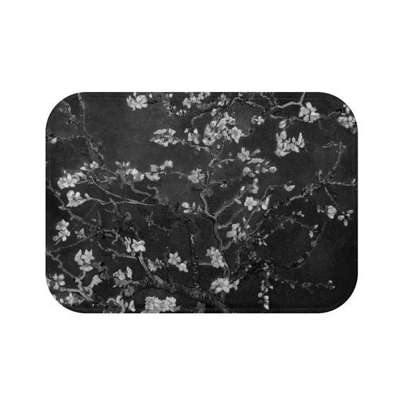 Almond Blossoms On Black Microfiber Bath Mat, Vincent Van Gogh, 1890