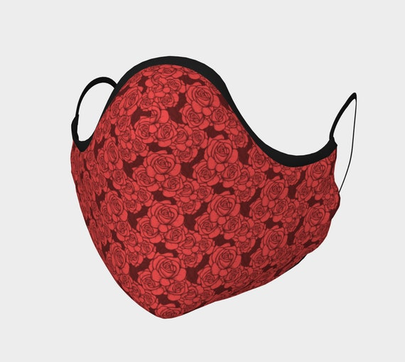 Roses, Face Mask With Filter Pocket, Filters Included, 7 Sizes, 100% Cotton, Floral