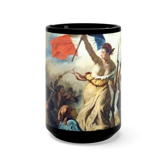 Liberty Leading The People, Black 15oz Ceramic Mug, Vintage, Antique Painting, Delacroix, 1830