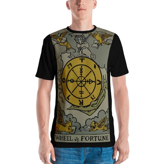 Wheel Of Fortune Tarot Card Shirt, Major Arcana, From Vintage Rider-Waite Deck, AOP