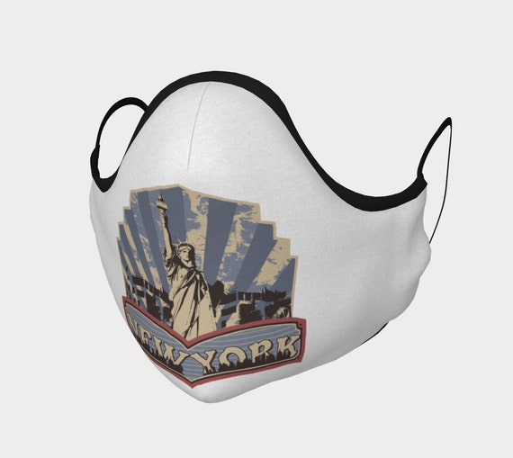 Vintage Lady, Face Mask With Filter Pocket, Filters Included, 7 Sizes, 100% Cotton, Statue Of Liberty, Patriotism, New York