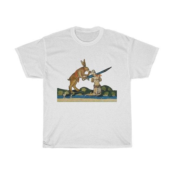 Medieval Killer Rabbit T-shirt, Light Colors, From A Medieval Manuscript, Marginalia