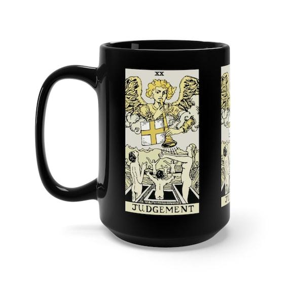 Judgement, Black 15oz Ceramic Mug, Tarot Card, Major Arcana, From Vintage Rider-Waite Deck, Coffee, Tea