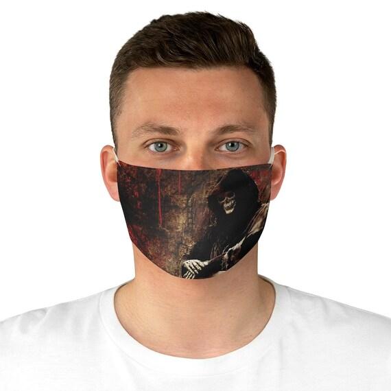 Death Waits Patiently Cloth Face Mask, Washable, Reusable, Grim Reaper, Memento Mori