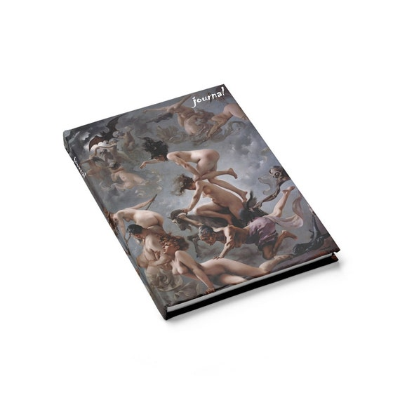 Witches Going To Their Sabbath, Hardcover Journal, Ruled Line, Vintage Painting, Luis Ricardo Falero, 1878, Witchcraft, Notebook